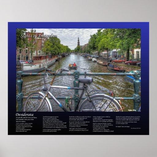 Desiderata - Amsterdam Canal Bridge View and Bike Print