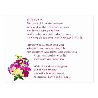 DESIDERATA Bright Bouquet postcard