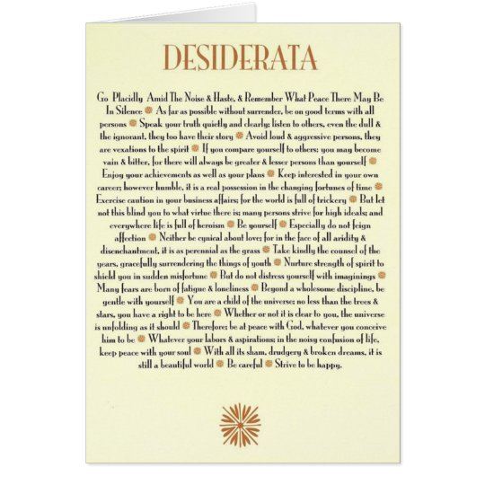 DESIDERATA Card=Sunburst Card
