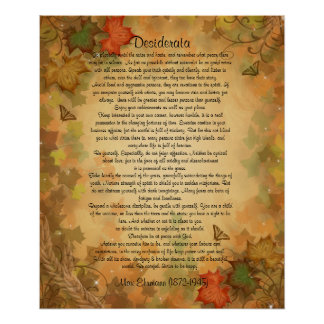 """Desiderata """"desired things"""" Autumn leaves Poster"""