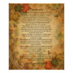 "Desiderata ""desired things"" Autumn leaves Print"