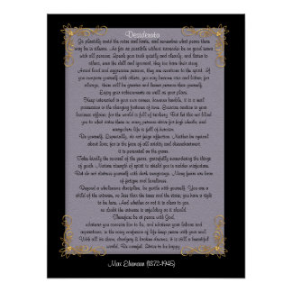 "Desiderata ""desired things"", customizable colors poster"
