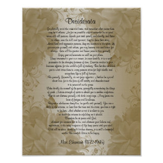 "Desiderata ""desired things"" floral plumeria poster"