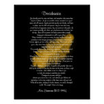 "Desiderata ""desired things"" Golden feather black Poster"