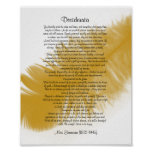 "Desiderata ""desired things"" Golden feather Poster"