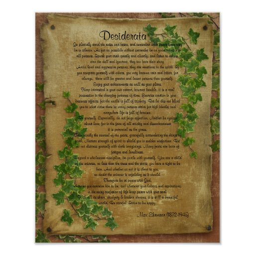 "Desiderata ""desired things"",Ivy on parchment Posters"