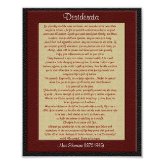 """Desiderata """"desired things"""" leather look poster"""