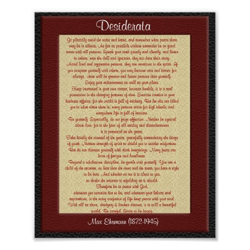 "Desiderata ""desired things"" leather look posters"