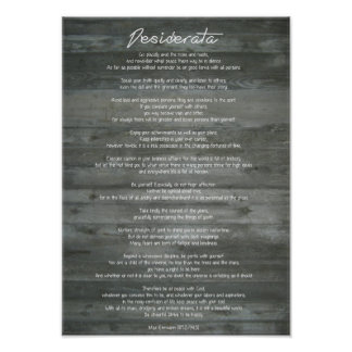 "Desiderata ""Desired Things"" on Concrete Wall Poster"