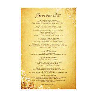 """Desiderata """"Desired Things"""" on Vintage Parchment Canvas Print"""