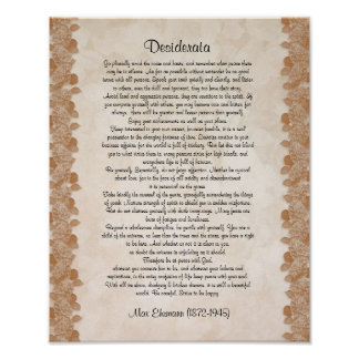 "Desiderata ""desired things"" parchment floral poster"