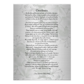 "Desiderata ""desired things"" poster"