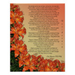 "Desiderata ""desired things"", prose asian lilies poster"