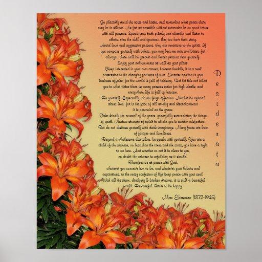 "Desiderata ""desired things"", prose asian lilies print"