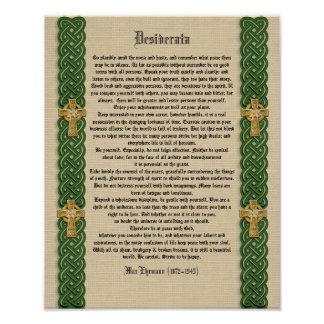 """Desiderata """"desired things"""", prose Celtic Knot bor Poster"""