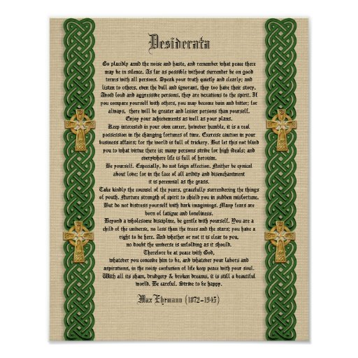 "Desiderata ""desired things"", prose Celtic Knot bor Print"