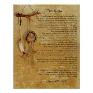"Desiderata ""desired things"", prose dreamcatcher poster"