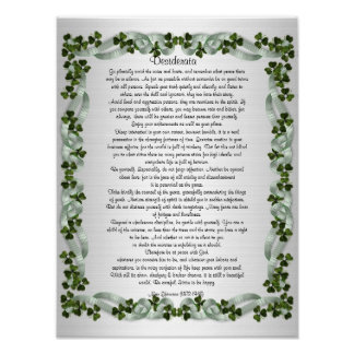 "Desiderata ""desired things"" prose Irish background Poster"