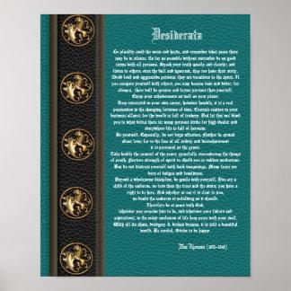"Desiderata ""desired things"", prose masculine backg print"
