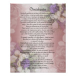 """Desiderata """"desired things"""", prose on floral poster"""