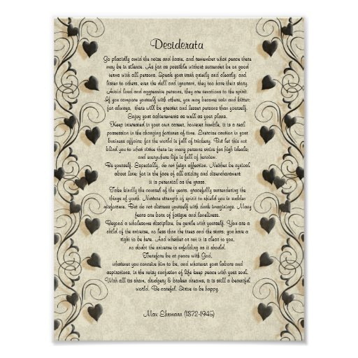 "Desiderata ""desired things"", prose on parchment print"