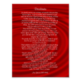 "Desiderata ""desired things"", prose on red poster"