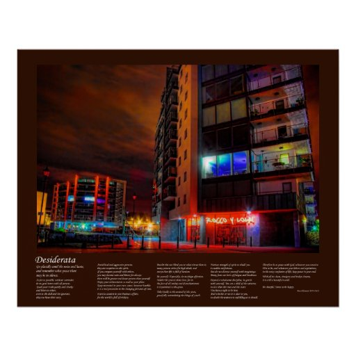 Desiderata - East Sutton Harbour by Night Poster