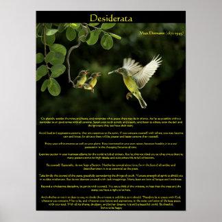 Desiderata Hummingbird with babies Poster