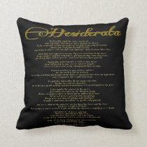 Desiderata in Faux Gold Foil Typography Black Throw Pillow