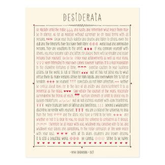 Desiderata Inspirational Poem Post Card