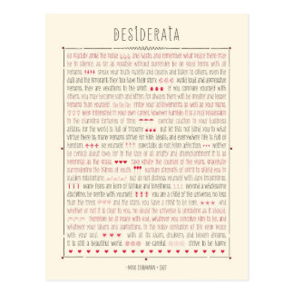 Desiderata Inspirational Poem Postcard