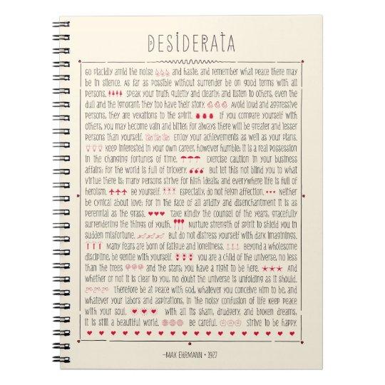 Desiderata Inspirational Poem Spiral Notebook