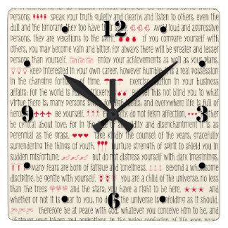 Desiderata Inspirational Poem Square Wall Clock