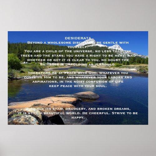 DESIDERATA Mountain Lake Posters