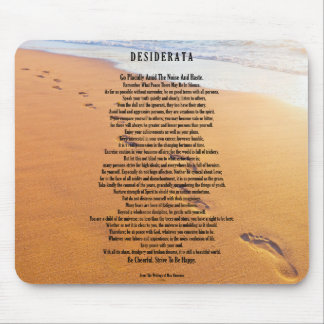 Desiderata Mouse pad Footprints In The Sand Design