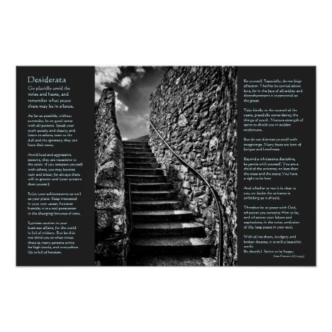 Desiderata on Barbican Steps, Onwards and Upwards Poster