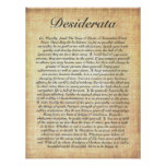 DESIDERATA on Fossilized Wood Paper Poster
