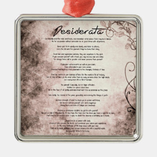 Desiderata on Vintage Floral Faux Parchment Metal Ornament