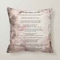 Desiderata on Vintage Floral Faux Parchment Throw Pillow