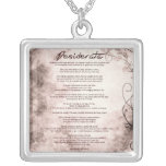 Desiderata on Vintage Floral Parchment Personalized Necklace
