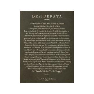 Desiderata on Wood Poster