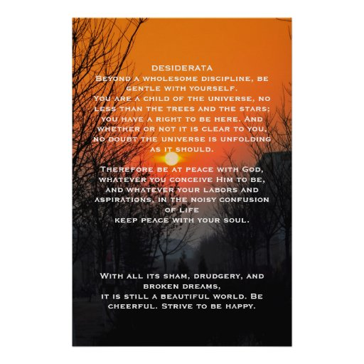 DESIDERATA Orange walkway Posters