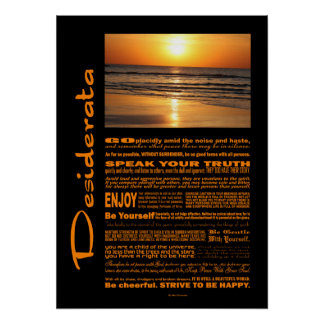 Desiderata Poem Beautiful Yellow Sunset Poster