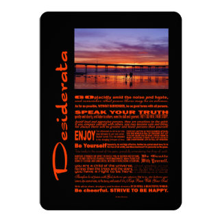 Desiderata Poem Colorful Sunset Behind The Pier Card