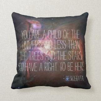 Desiderata poem inspirational quote nebula nebulae throw pillow