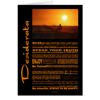 Desiderata Poem Kite Surfer At Sunset Card