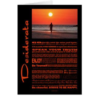 Desiderata Poem Man Walking Under Red Sunset Card