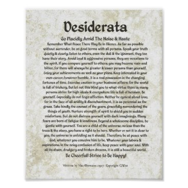 Christmas Themed DESIDERATA Poem  Max Ehrmann-Medieval Calligraphy Poster