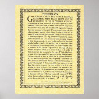 DESIDERATA Poem=Max Ehrmann=Parchment Collection Poster
