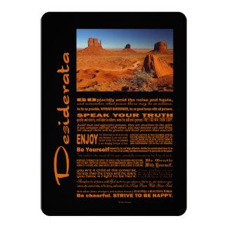 Desiderata Poem Monument Valley #2 5x7 Paper Invitation Card